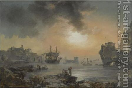 A Harbour Scene With Figures Cavorting In The Foreground And Ships Docking Beyond by Alexandre-Jean Noel - Reproduction Oil Painting