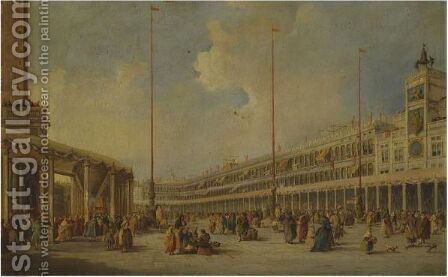 Venice, The Procession Of The Corpus Domini Through St Mark's Square by (after) Francesco Guardi - Reproduction Oil Painting