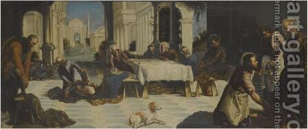 Christ Washing The Disciples' Feet by (after) Jacopo Tintoretto (Robusti) - Reproduction Oil Painting