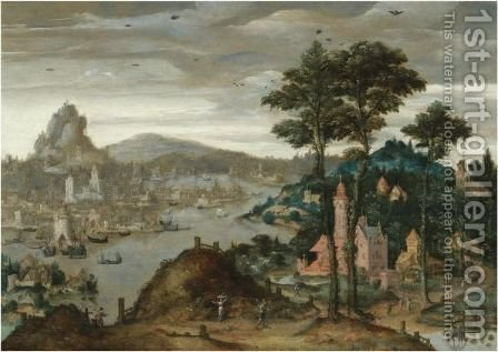A Fantasy Mountainous River Landscape With Ships Moored Before A Distant City by (after) Lucas Gassel - Reproduction Oil Painting