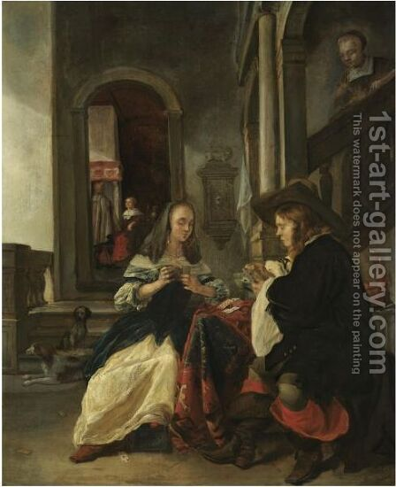 An Elegant Couple Playing Cards by (after) Gabriel Metsu - Reproduction Oil Painting