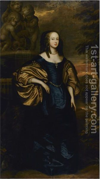 Portrait Of A Lady, Full Length, Standing Wearing A Blue Dress by (after) Dyck, Sir Anthony van - Reproduction Oil Painting