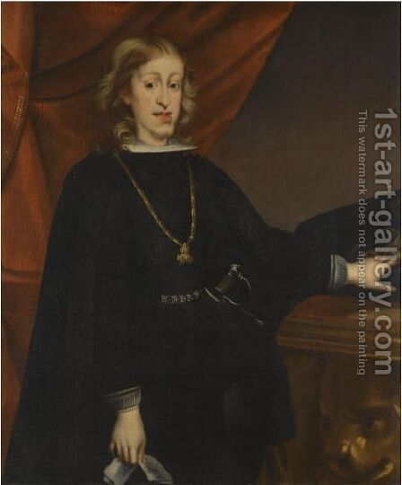 Portrait Of Charles II Of Spain, Standing In An Interior by (after) Juan Carreno De Miranda - Reproduction Oil Painting