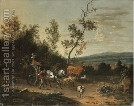Travellers With A Horse And Cart Passing Through An Extensive Landscape by Jan Van Der Bent - Reproduction Oil Painting