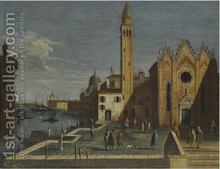 Venice, A View Of The Grand Canal From Santa Maria Della Carita To The Bacino Di San Marco by (after) Apollonio Domenichini - Reproduction Oil Painting