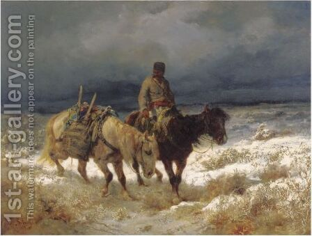 Horseman On The Russian Steppe by Adolf Schreyer - Reproduction Oil Painting