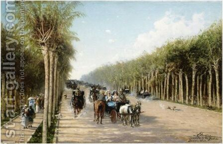 Avenida 3. Febrero, Buenas Aires by Achille Dovera - Reproduction Oil Painting
