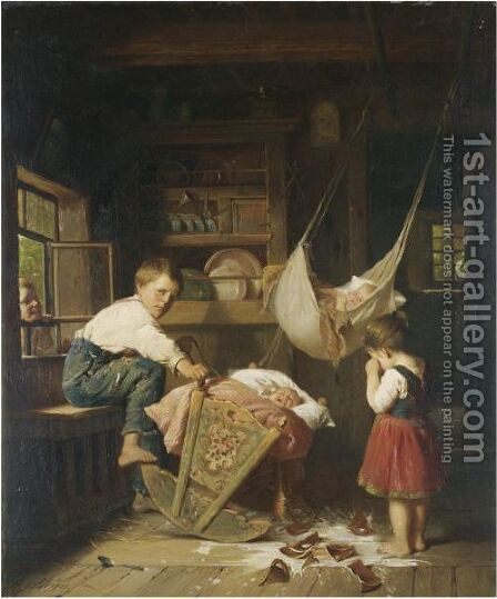 Crying Over Spilt Milk by August Heyn - Reproduction Oil Painting