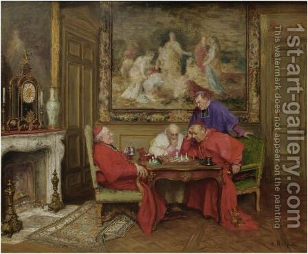 The Chess Players by Henri Brispot - Reproduction Oil Painting