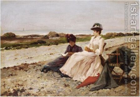 Elegantes Sur La Plage by Edouard Gelhay - Reproduction Oil Painting