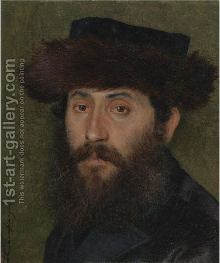 Portrait Of A Man With Streimel by Isidor Kaufmann - Reproduction Oil Painting
