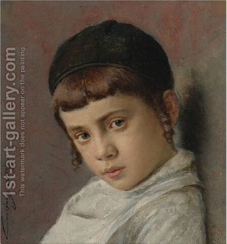 Portrait Of A Young Boy With Peyot by Isidor Kaufmann - Reproduction Oil Painting