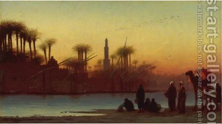 Near Manfalout, Egypt by Charles Théodore Frère - Reproduction Oil Painting