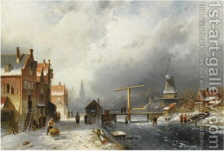 A Wintry Dutch Town With Skaters On A Frozen Canal by Charles Henri Leickert - Reproduction Oil Painting