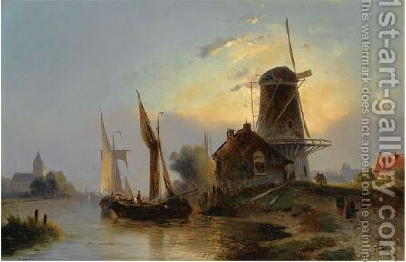 Moored Boats Near A Windmill by Jacobus Adrianus Vrolijk - Reproduction Oil Painting