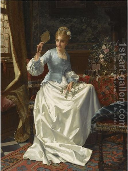 A Beauty In An Interior by Jan Frederik Pieter Portielje - Reproduction Oil Painting