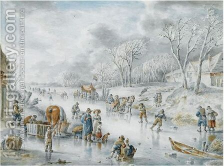 Many Figures On A Frozen Canal, A 'Koek En Zopie' In The Distance by Andries Vermeulen - Reproduction Oil Painting