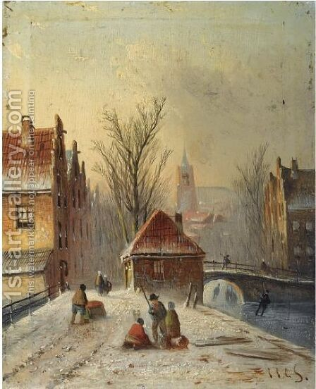 A View Of A Wintry Dutch Town by Jan Jacob Coenraad Spohler - Reproduction Oil Painting