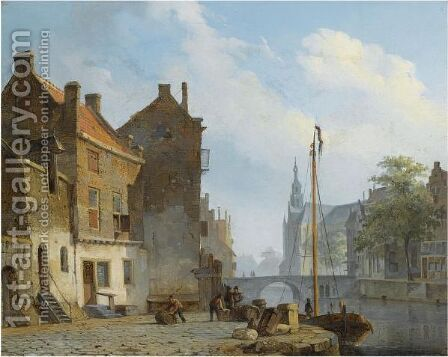Figures On A Quay In A Dutch Town by Cornelis Springer - Reproduction Oil Painting