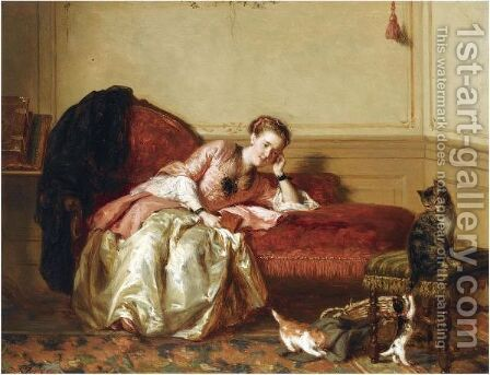 Watching The Kittens Play by David Bles - Reproduction Oil Painting