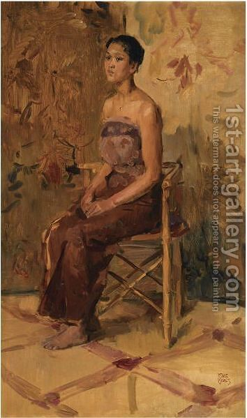 A Portrait Of A Seated Javanese Beauty by Isaac Israels - Reproduction Oil Painting