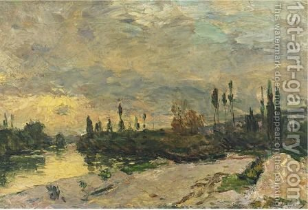 Coucher De Soleil Sur La Seine, Pres De Vetheuil by Albert Lebourg - Reproduction Oil Painting
