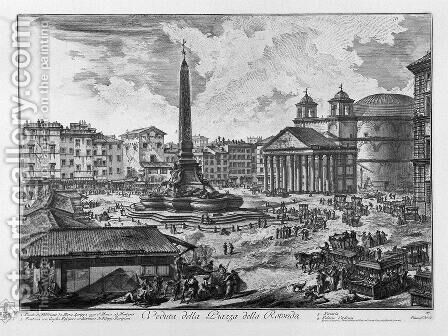 The Piazza Della Rotonda, With The Pantheon And Obelisk by Giovanni Battista Piranesi - Reproduction Oil Painting