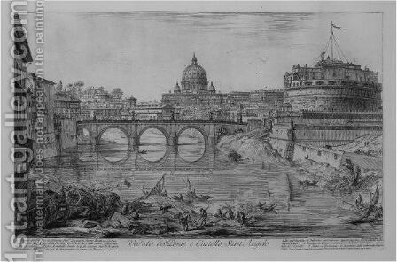 And The Ponte And Castel S. Angelo by Giovanni Battista Piranesi - Reproduction Oil Painting