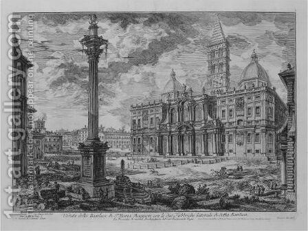 S. Maria Maggiore With The Obelisk In The Piazza Dell' Esquilino by Giovanni Battista Piranesi - Reproduction Oil Painting