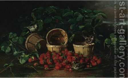 Still Life With Strawberries And Sparrows by Edward Chalmers Leavitt - Reproduction Oil Painting