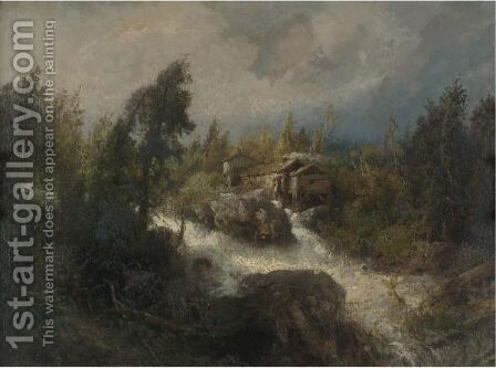 Rushing Stream by Herman Herzog - Reproduction Oil Painting