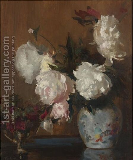 Peonies by Edmund Charles Tarbell - Reproduction Oil Painting