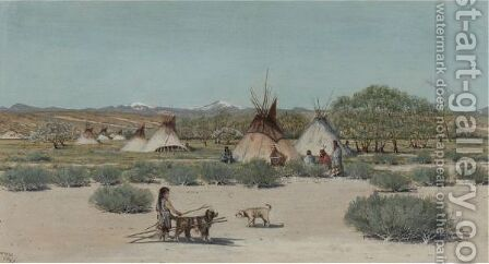 The Young Dog Trainer, Sioux Indian Encampment by Dwight W. Huntington - Reproduction Oil Painting