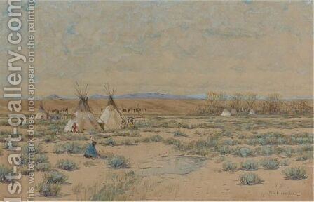 Sioux Indian Encampment by Dwight W. Huntington - Reproduction Oil Painting