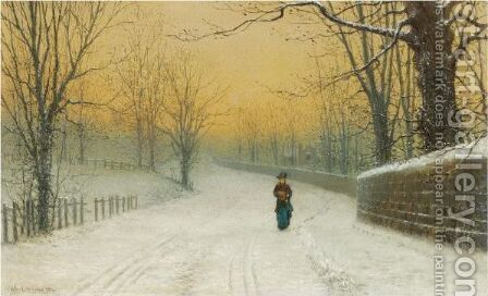 Winter At Stapleton Park, Pontefract by Arthur E. Grimshaw - Reproduction Oil Painting