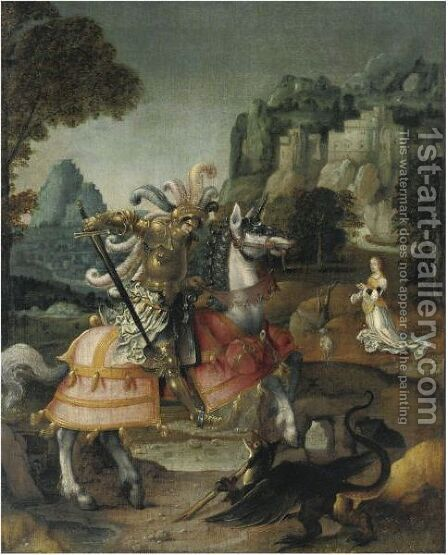 Saint George And The Dragon by Antwerp School - Reproduction Oil Painting