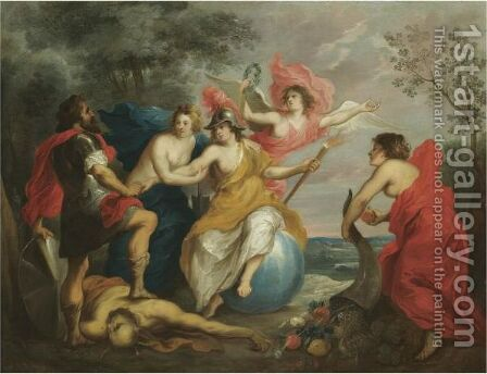 Minerva Protecting Ceres From War by (after) Guilliam The Elder Forchondt - Reproduction Oil Painting