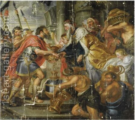 The Meeting Of Abraham And Melchizedek 2 by (after) Sir Peter Paul Rubens - Reproduction Oil Painting