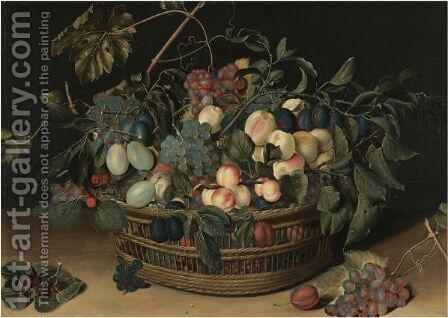 Still Life With Peaches, Apricots, Plums, Greengages And Grapes In A Wicker Basket On A Wooden Tabletop by (after) Jacob Van Hulsdonck - Reproduction Oil Painting