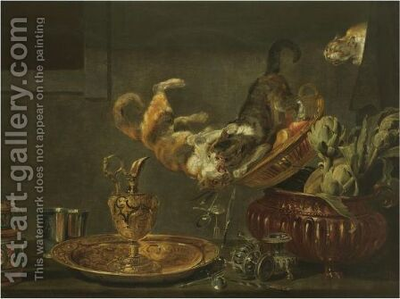 Tussling Cats On A Tabletop Laid With Ornate Silver And Gold Objects And An Urn Filled With Artichokes by (after) Paul De Vos - Reproduction Oil Painting