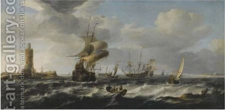 A River Estuary With Dutch Shipping In A Stiff Breeze, A Lighthouse To The Left by Jan Theunisz Blanckerhoff - Reproduction Oil Painting