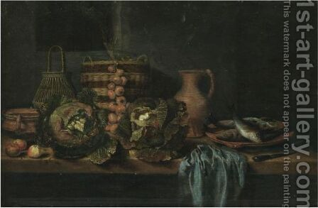 A Still Life With Cabbages, Onions, Apples, A Knife, Wicker Baskets And Earthenware Jugs On A Table by Hubert van Ravesteyn - Reproduction Oil Painting