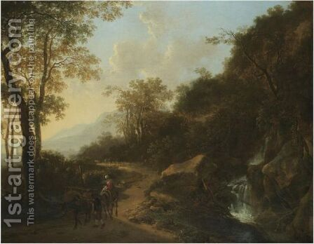 A Mountainous Italianate Landscape With Travellers Passing A Stream by Jan Both - Reproduction Oil Painting