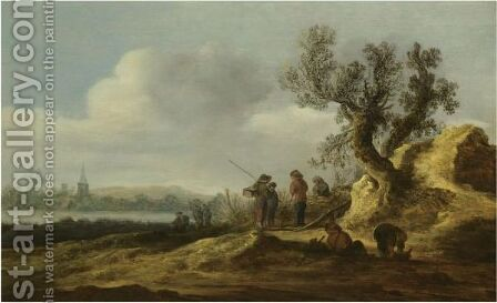 A River Landscape With Figures Conversing Beneath A Tree by Jan van Goyen - Reproduction Oil Painting