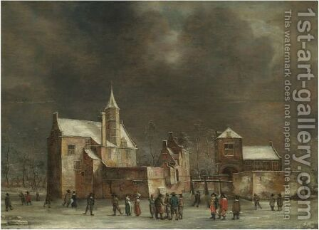 A View Of Wulven Castle In Winter With Figures Skating On The Ice by Anthonie Beerstraten - Reproduction Oil Painting