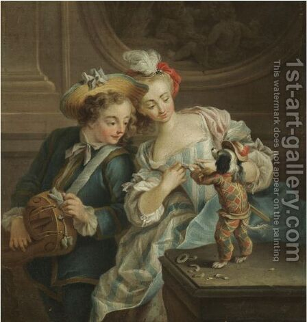 A Young Boy And Girl Dressing Up A Small Dog by (after) Jean Baptiste (or Joseph) Charpentier - Reproduction Oil Painting