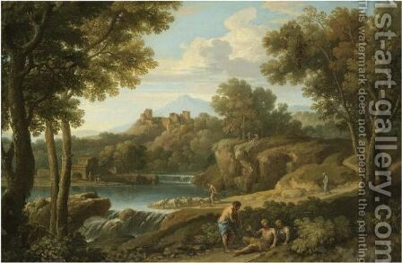 A Classical Landscape With Figures And A Herdsman Near A Waterfall, A Hilltop Fort Beyond by Andrea Locatelli - Reproduction Oil Painting