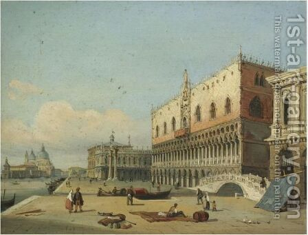 Venice, A View Of The Doge's Palace And Piazzetta Looking West From The Riva Degli Schiavoni by Carlo Grubacs - Reproduction Oil Painting