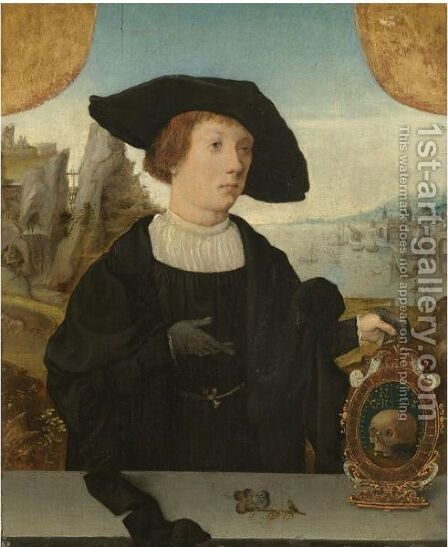 Portrait Of A Young Man, Behind A Ledge, With A Landscape Beyond, In A Black Hat, Holding A Memento Mori by (after) Jan Mostaert - Reproduction Oil Painting
