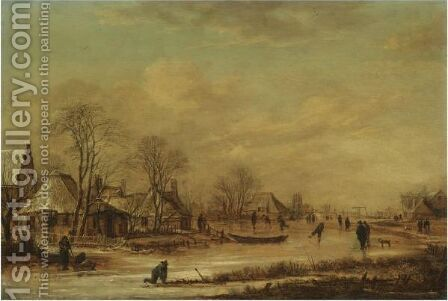 A Village Scene In Winter With Skaters On A Frozen River by Aert van der Neer - Reproduction Oil Painting